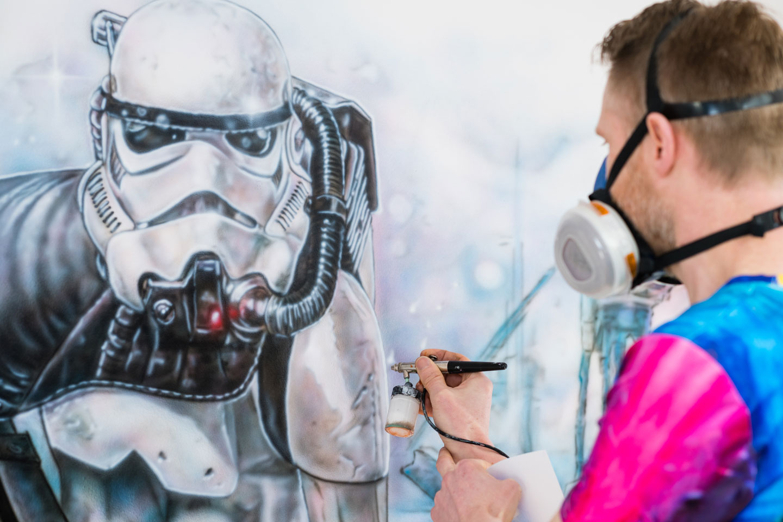 Star Wars muurschildering highlights met wit