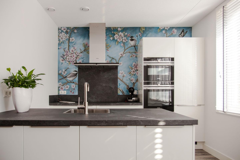 Bloesem muurschildering keuken