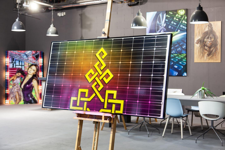 Zonnepaneel schilderij, airbrush recycle art