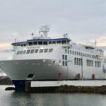 Bild der Fähre Hammershus von Bornholmslinjen im Hafen von Rønne