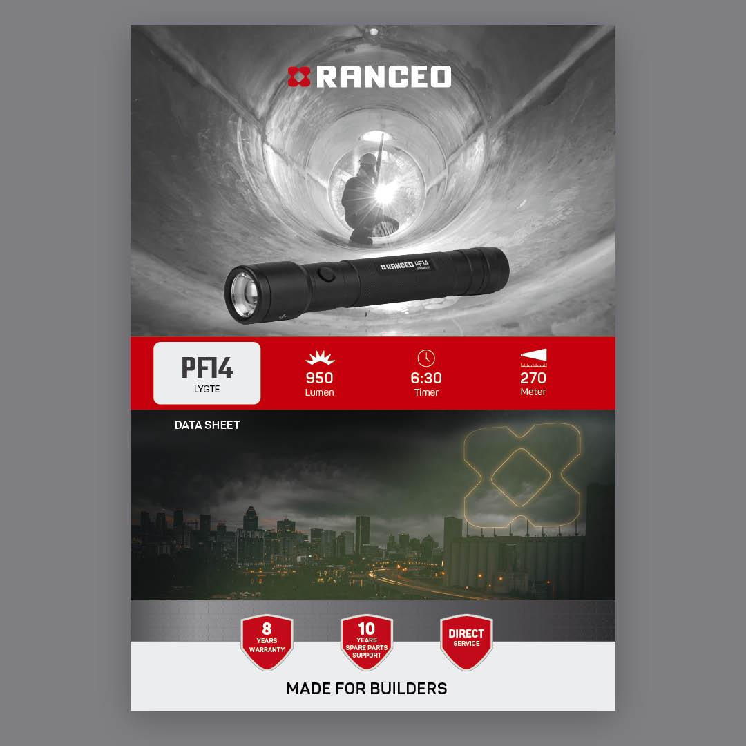 RANCEO PF14 - DATA SHEET - Teknisk information om lygten - Download hent dit data sheet her som .pdf fil