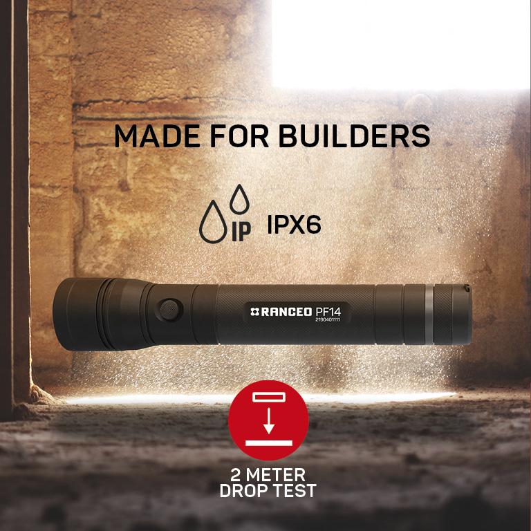 RANCEO PF14 lygte til industri og håndværkere flashlight zoom with hand ean: 5710444904004 art nr. 9040 pictogram