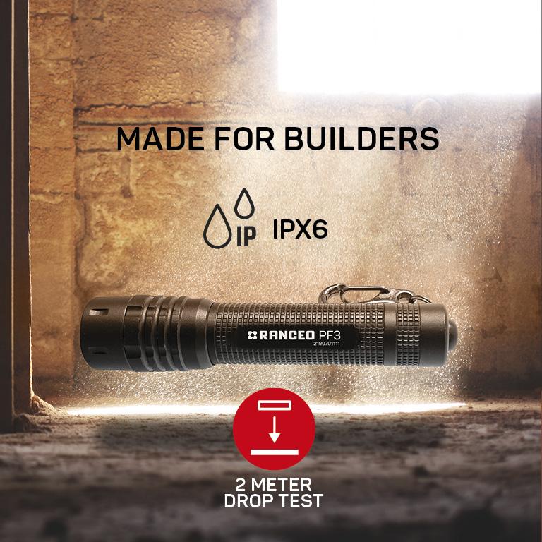 RANCEO PF3 lygte til industri og håndværkere flashlight droptest ipx ean: 5710444907005 art nr. 9070