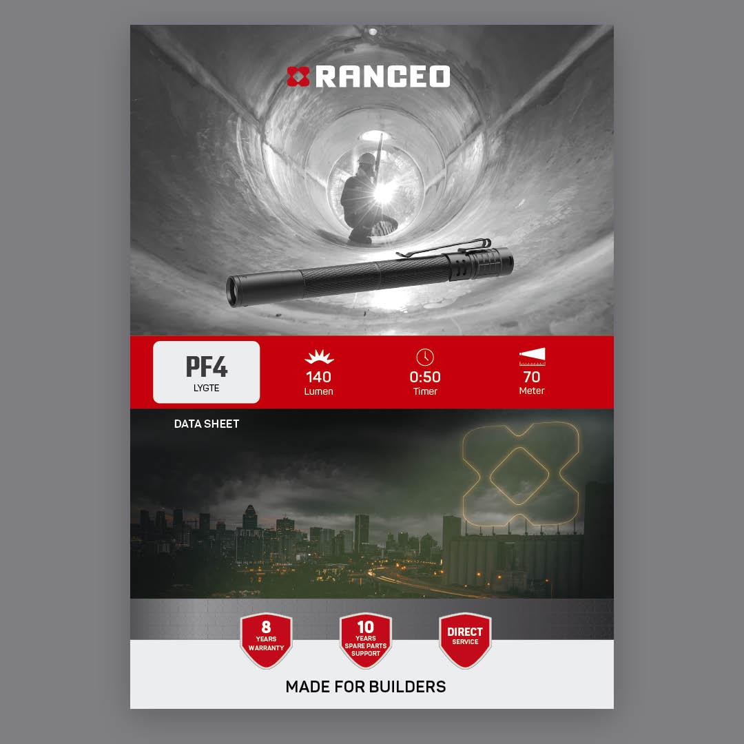 RANCEO PF4 - DATA SHEET - Teknisk information om lygten - Download hent dit data sheet her som .pdf fil