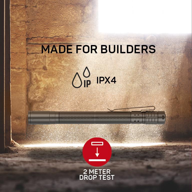 RANCEO PF4 lygte til industri og håndværkere flashlight droptest ipx ean: 5710444905001 art nr. 9050 pictogram
