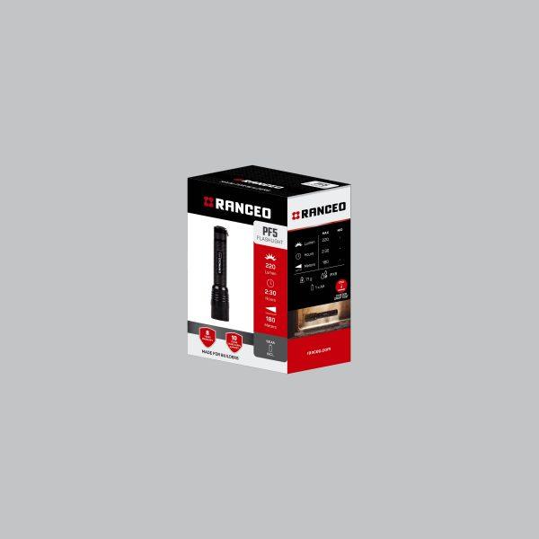 RANCEO PF5 - Lommelygte emballage blisterbox - Find den i butikken