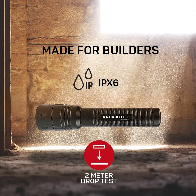 RANCEO PF5 lygte til industri og håndværkere flashlight droptest ipx ean: 5710444906008 art nr. 9060 pictogram