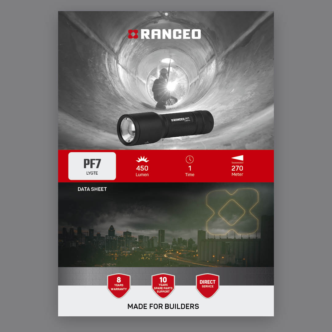 RANCEO PF7 - DATA SHEET - Teknisk information om lygten - Download hent dit data sheet her som .pdf fil