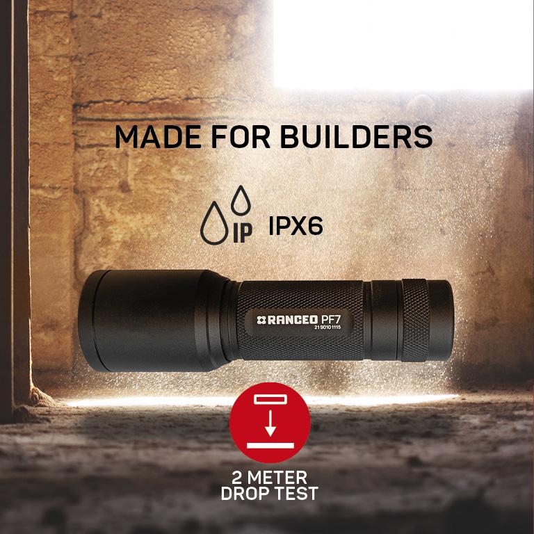 RANCEO PF7 lygte til industri og håndværkere flashlight droptest ipx ean: 5710444901003 art nr. 9010 pictogram