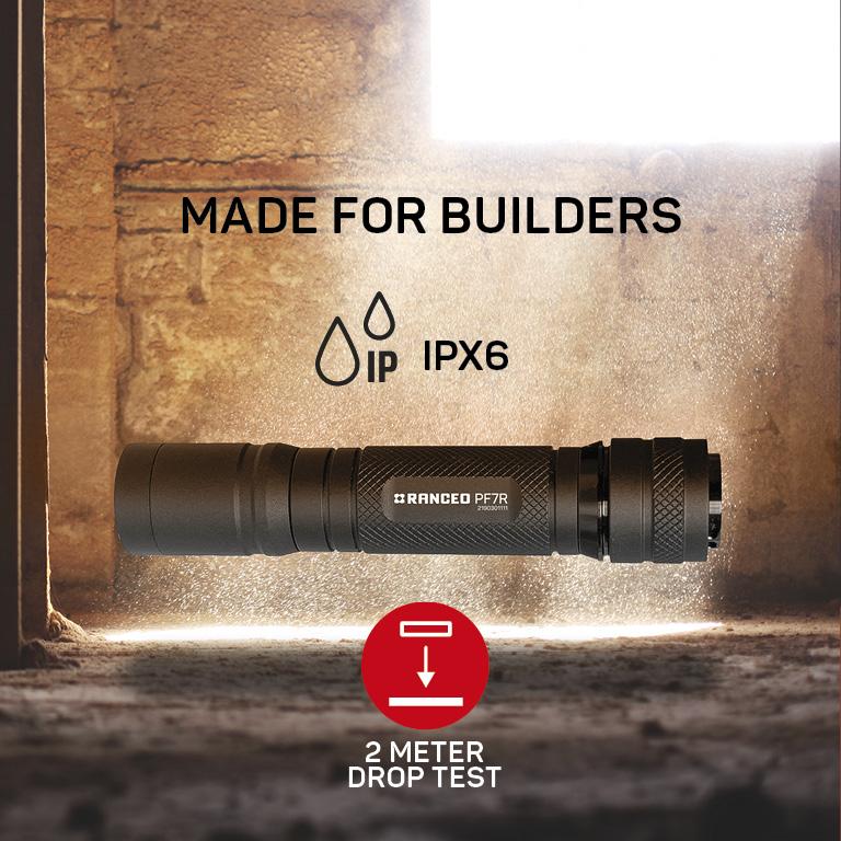 RANCEO PF7R genopladelig lygte til industri og håndværkere rechargeable flashlight droptest ipx ean: 5710444903007 art nr. 9030 pictogram