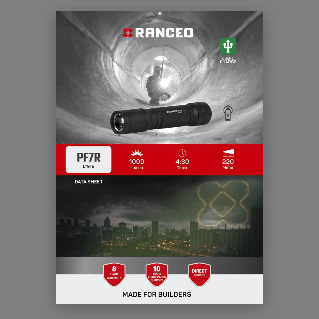 RANCEO PF7R - DATA SHEET - Teknisk information om lygten - Download hent dit data sheet her som .pdf fil