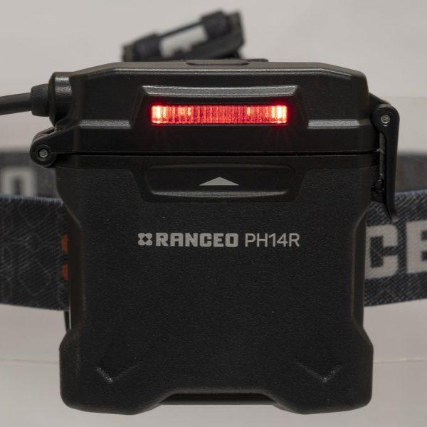 RANCEO PH14R genopladelig pandelampe pandelygte til industri og håndværkere rechargeable headlamp back red light batteri box battery box ean: 5710444926006 art nr. 9260