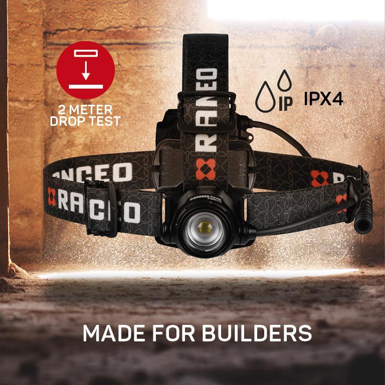 RANCEO PH14R genopladelig pandelampe pandelygte til industri og håndværkere rechargeable headlamp droptest ipx ean: 5710444926006 art nr. 9260 pictogram