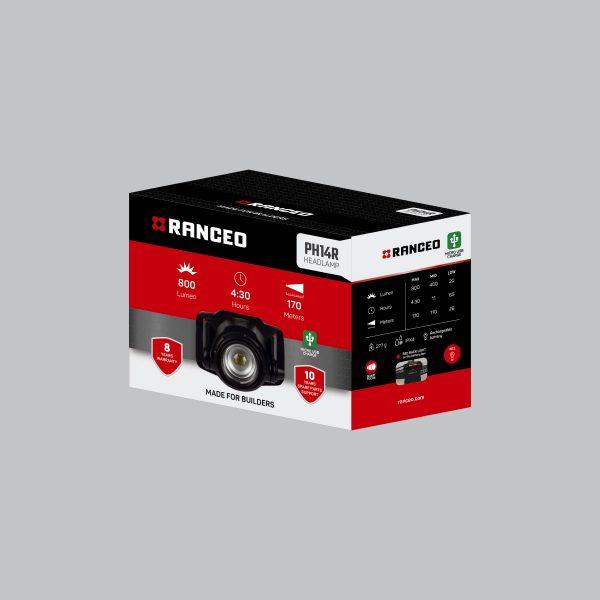 RANCEO PH14R - Genopladelig pandelampe / pandelygte emballage blisterbox - Find den i butikken