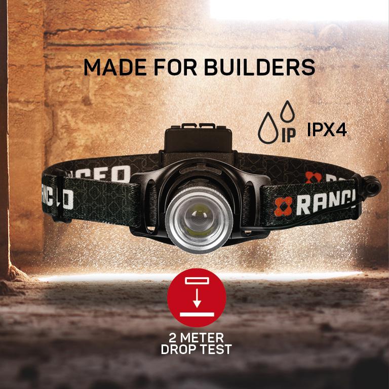 RANCEO PH7 pandelampe pandelygte til industri og håndværkere headlamp droptest ipx ean: 5710444923005 art nr. 9230 pictograms
