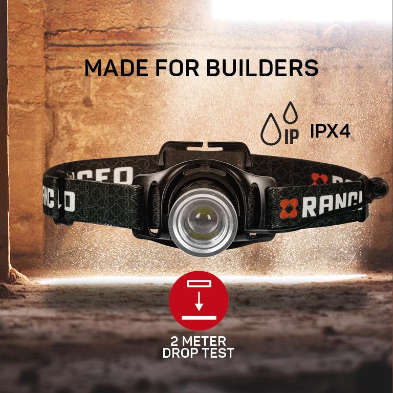 RANCEO PH8R genopladelig pandelampe pandelygte til industri og håndværkere rechargeable headlamp droptest ipx ean: 5710444924002 art nr. 9240 pictograms