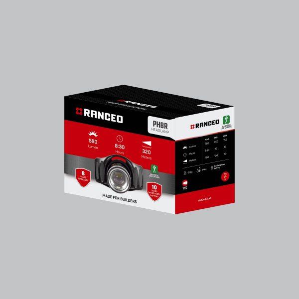 RANCEO PH8R - Genopladelig pandelampe / pandelygte emballage blisterbox - Find den i butikken