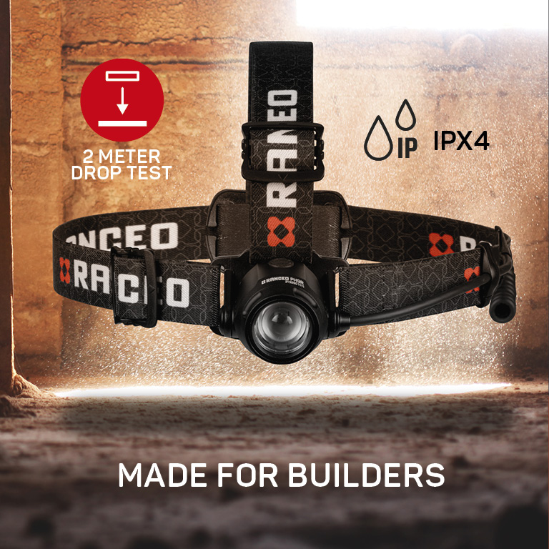 RANCEO PH9R genopladelig pandelampe pandelygte til industri og håndværkere rechargeable headlamp droptest ipx ean: 5710444925009 art nr. 9250 pictograms