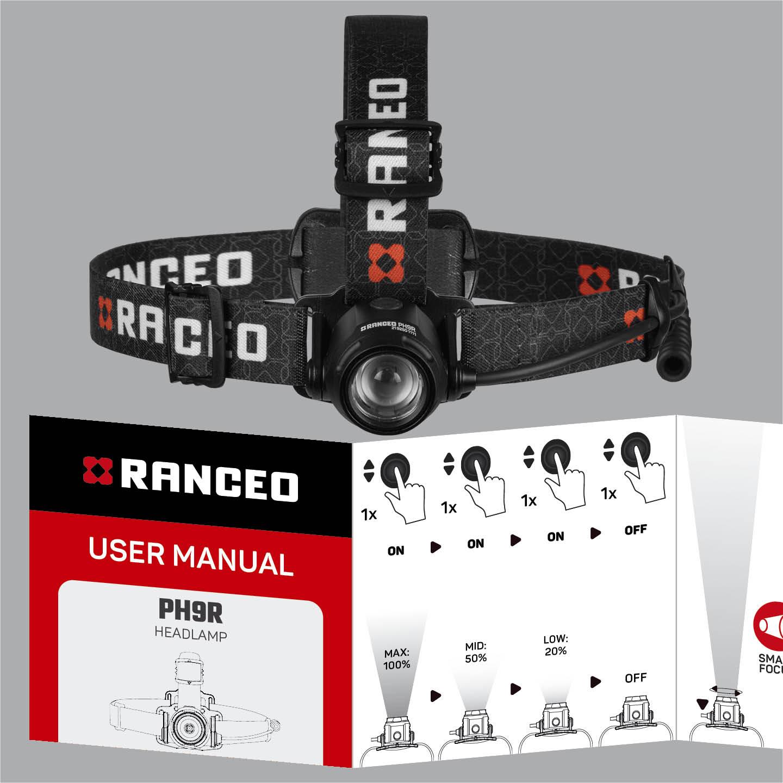 RANCEO PH9R - How to - Manual - Hvordan betjener jeg pandelampen / pandelygten og hvordan virker den - Download hent din manual her som .pdf fil