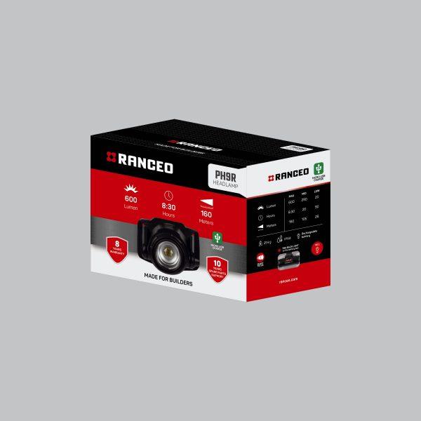 RANCEO PH9R - Genopladelig pandelampe / pandelygte emballage blisterbox - Find den i butikken