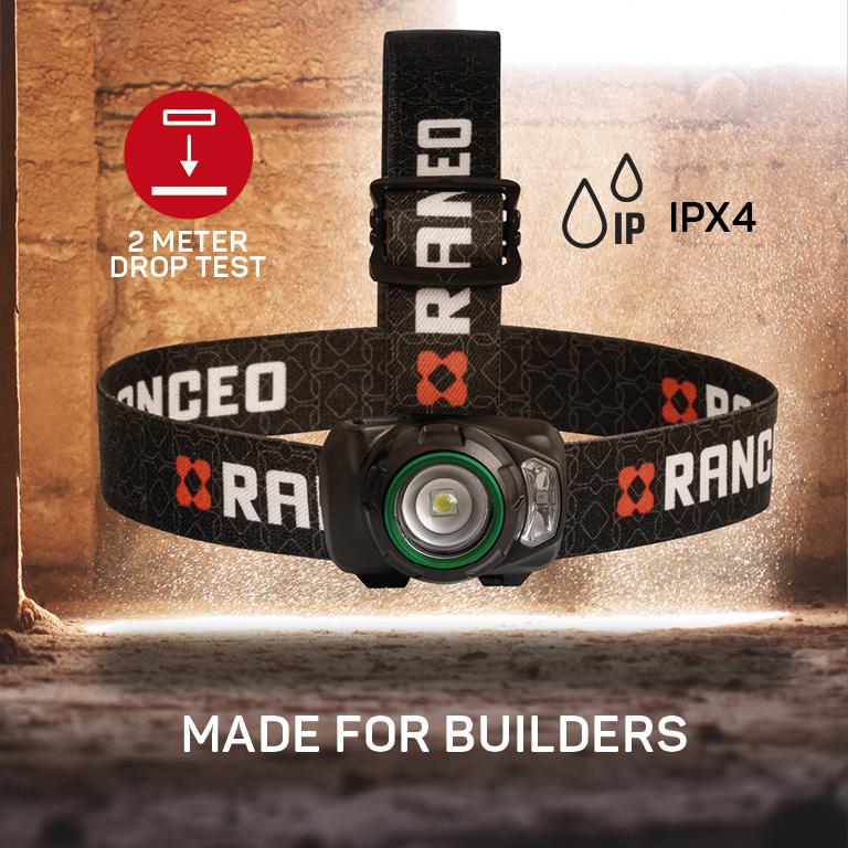 RANCEO SEE3 pandelampe pandelygte headlamp til industri og håndværkere droptest ipx ean: 5710444920004 art nr. 9200 pictograms