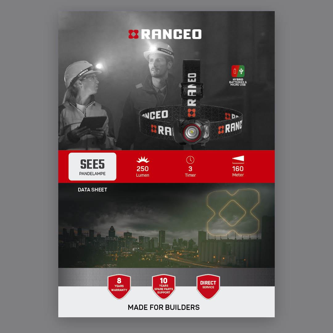 RANCEO SEE5 - DATA SHEET - Teknisk information om pandelampen - Download hent dit data sheet her som .pdf fil