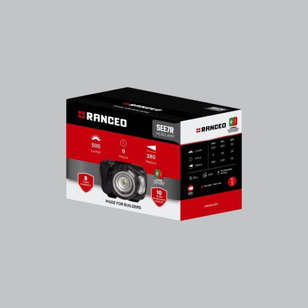 RANCEO SEE7R - Genopladelig pandelampe / pandelygte emballage blisterbox - Find den i butikken