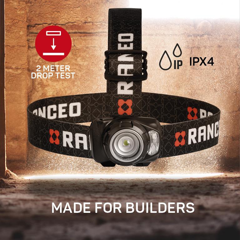 RANCEO SEE7R genopladelig pandelampe pandelygte til industri og håndværkere rechargeable headlamp droptest ipx ean: 5710444922008 art nr. 9220