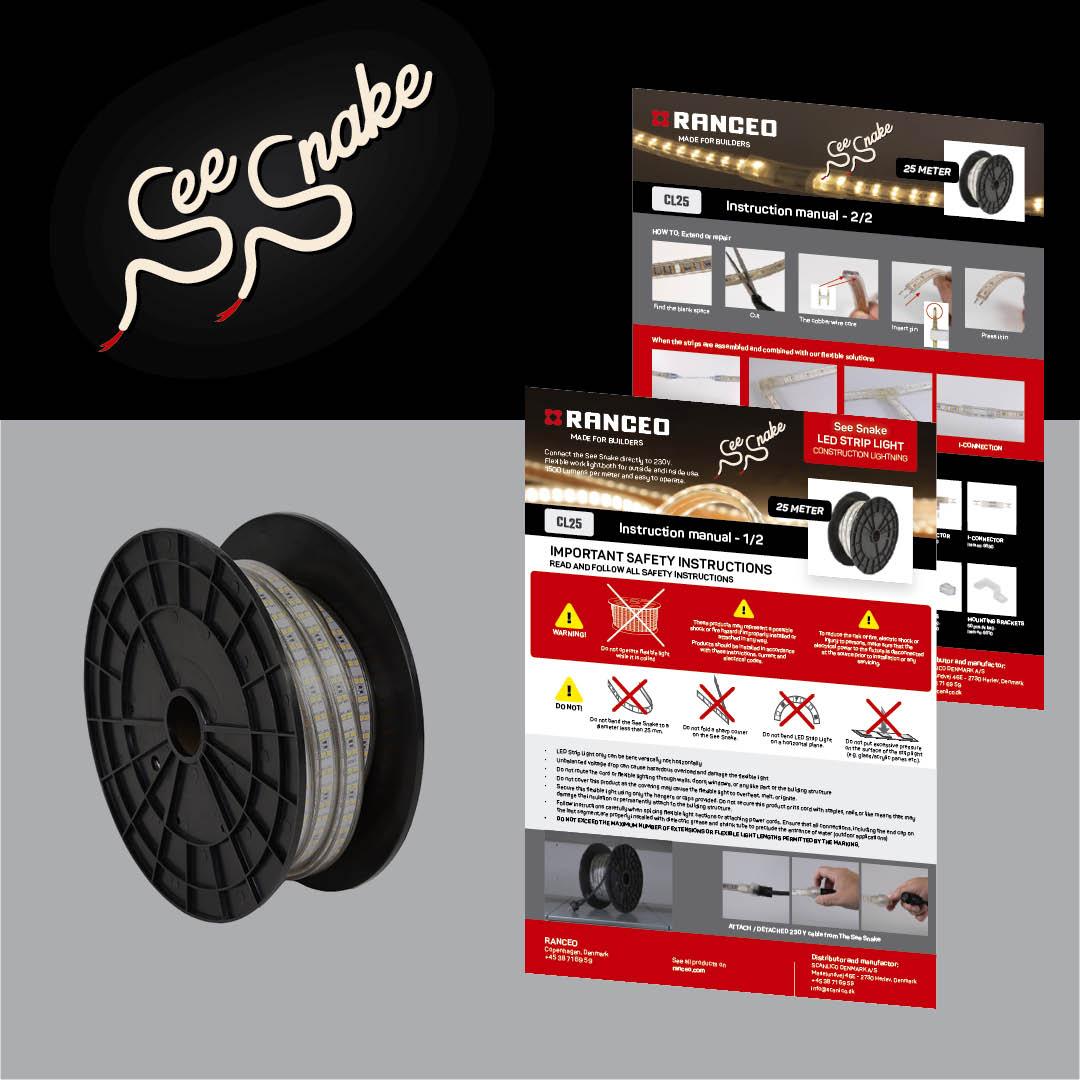 RANCEO - CL25 See Snake - LED Strip Light - How to - Hvordan virker byggepladsbelysningen - Download hent din manual her som .pdf fil