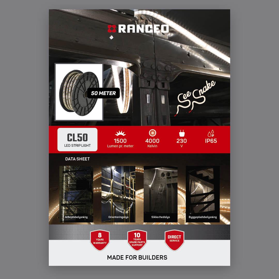 RANCEO CL50 - DATA SHEET - Teknisk information om See Snake LED Strip Light Byggepladsbelysning - Download hent dit data sheet her som .pdf fil