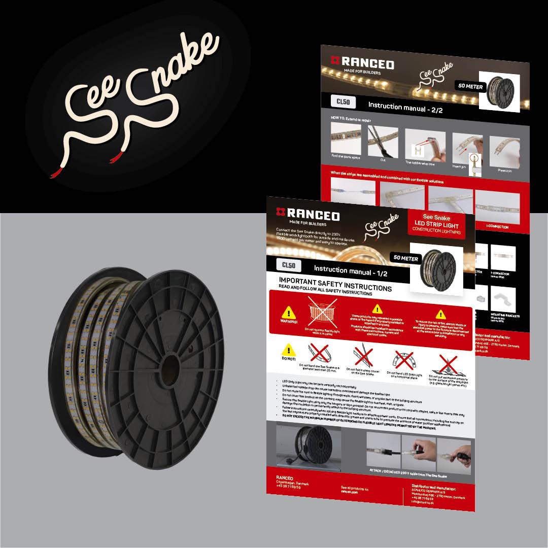RANCEO - CL50 See Snake - LED Strip Light - How to - Hvordan virker byggepladsbelysningen - Download hent din manual her som .pdf fil