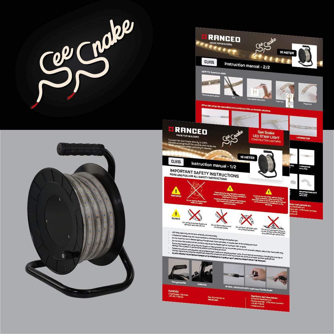 RANCEO - CLH15 See Snake - LED Strip Light - How to - Hvordan virker byggepladsbelysningen - Download hent din manual her som .pdf fil