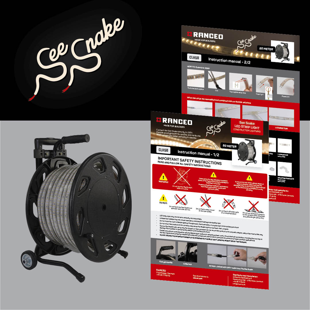 RANCEO - CLH50 See Snake - LED Strip Light - How to - Hvordan virker byggepladsbelysningen - Download hent din manual her som .pdf fil