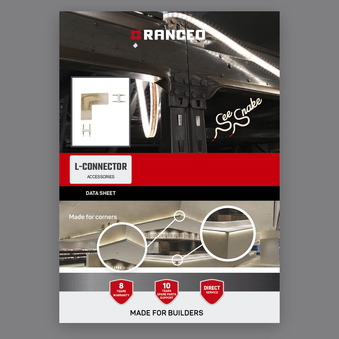 RANCEO L-CONNECTOR - DATA SHEET - Teknisk information om See Snake LED Strip Light Byggepladsbelysning tilbehør / Accessories - Download hent dit data sheet her som .pdf fil