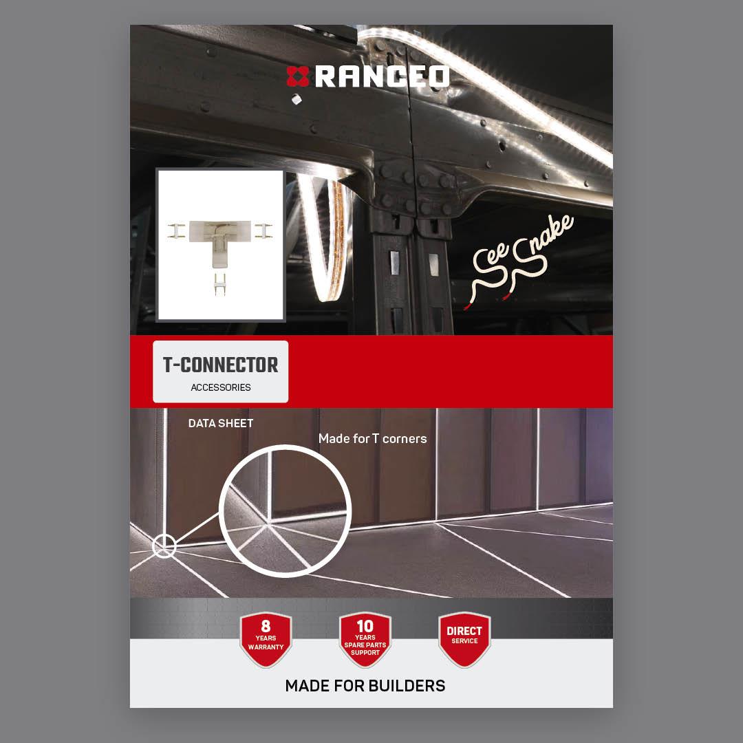 RANCEO T-CONNECTOR - DATA SHEET - Teknisk information om See Snake LED Strip Light Byggepladsbelysning tilbehør / Accessories - Download hent dit data sheet her som .pdf fil