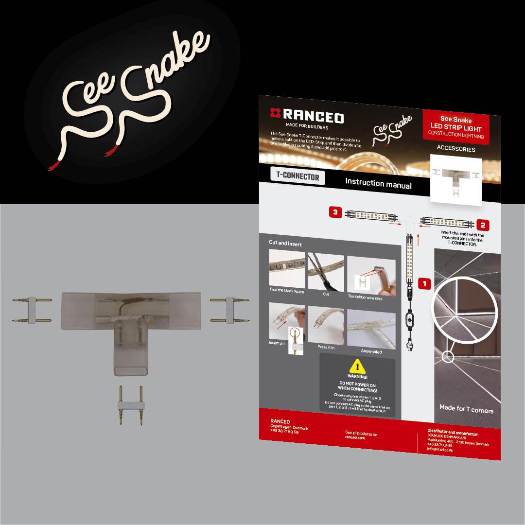 RANCEO - T-Connector udvidelse See Snake - LED Strip Light - How to - Hvordan virker byggepladsbelysningen - Download hent din manual her som .pdf fil