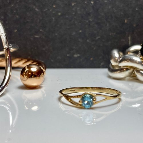 9ct Yellow Gold and Blue Topaz