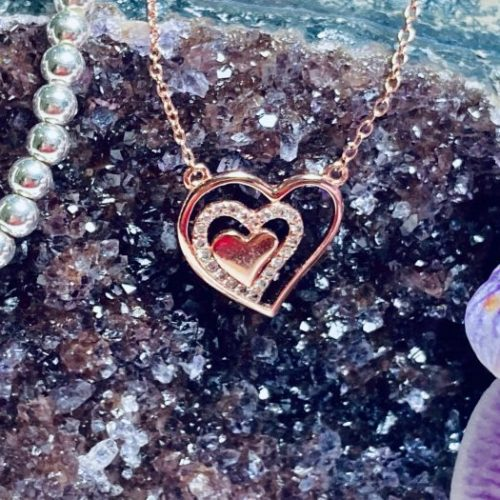 Silver Rose Gold Hearts in Heart Necklace