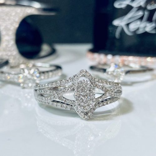 White Gold Illusion Set Marquise Engagement Ring