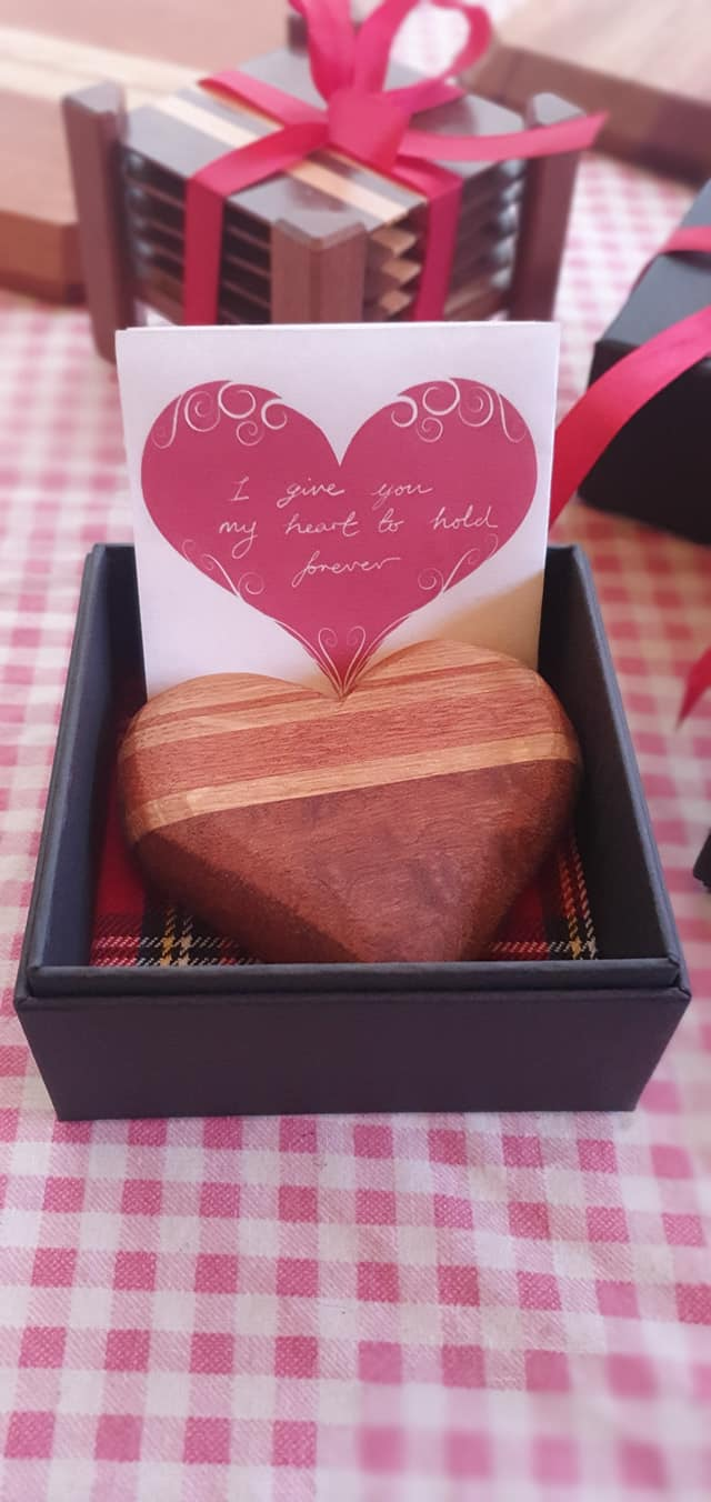 Kiwi and Rose Large Wooden Heart