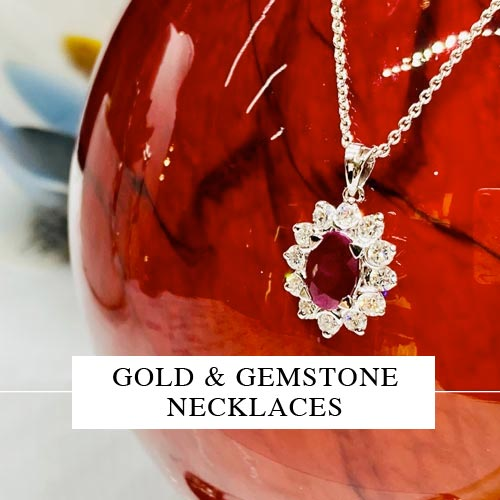 Gold and gemstone necklaces