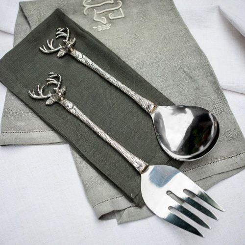Silver Stag Salad Servers.