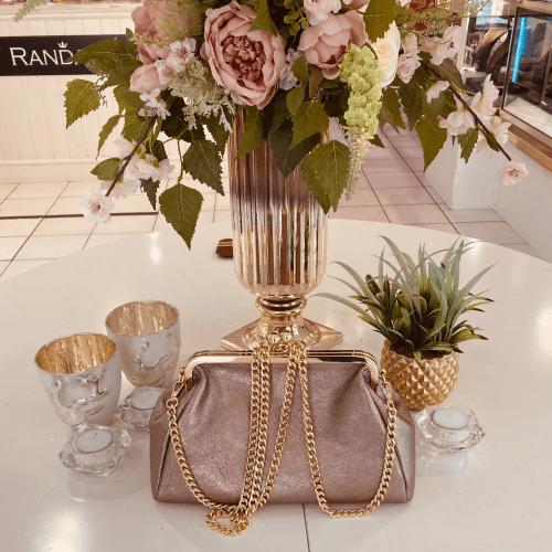 Carmella Gold Leather Hand Bag 4
