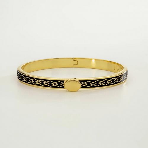 Skinny Parterre Chain Black & Gold Bangle