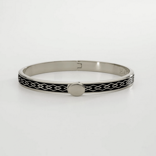 Skinny Parterre Chain Black & Palladium Bangle