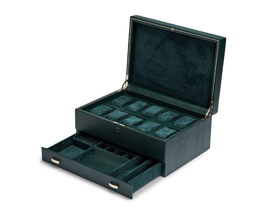 British Racing Green 10 Piece Watch Box with Storage 3