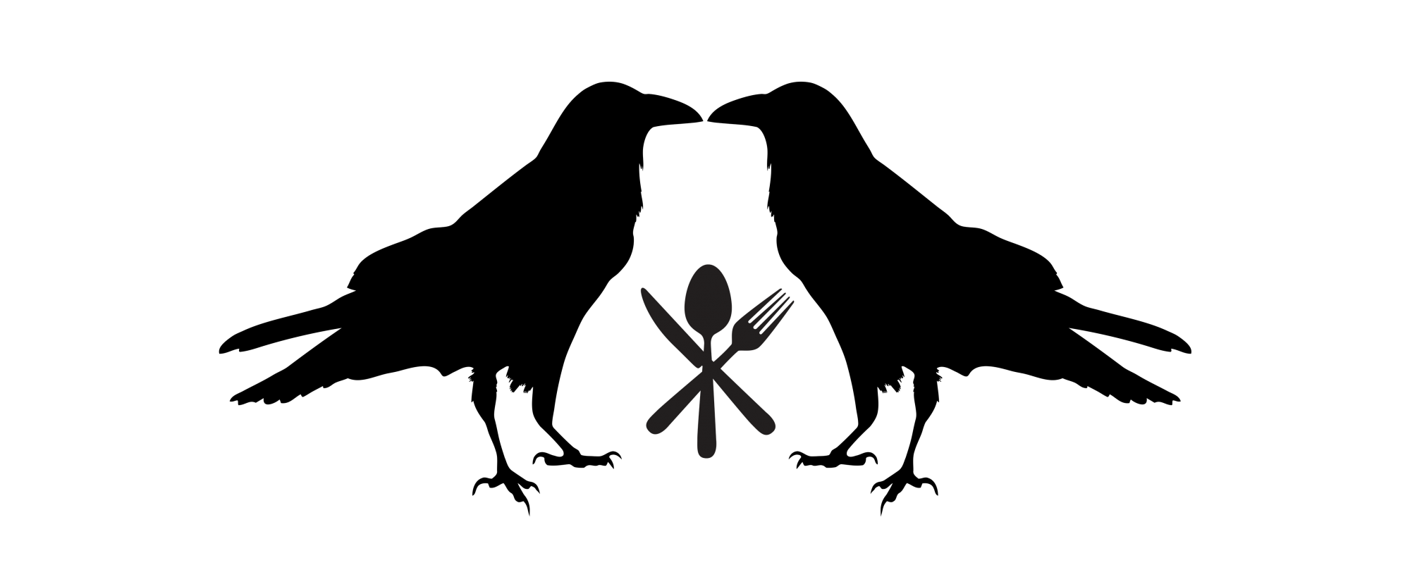 Två korpar vända mot varandra med en kniv, en gaffel och en kniv i mitten