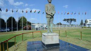 Haile Selassie I laying foundation stone H.S.I University