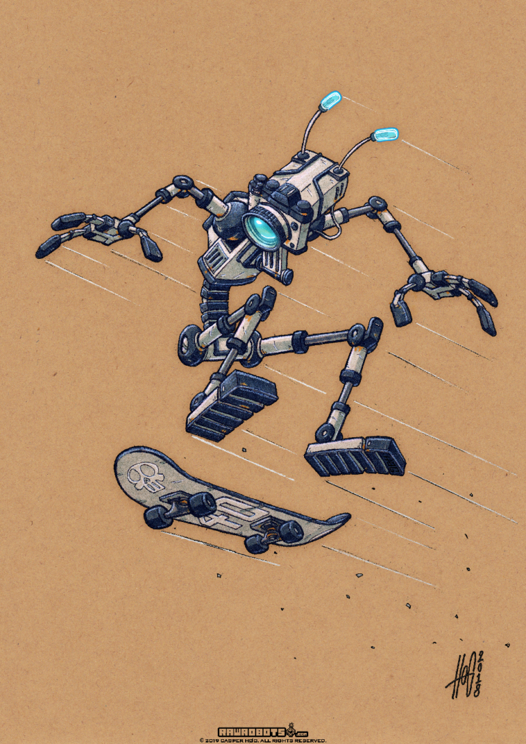 SK8,skateboard,skating,skate,tricks,fly,ollie,graffiti,hiphop,camara,Rawrobots,Raw robots,rawrobots.com,robot,droid,sci-fi,sci fi,toony,cartoon,retro,funny,android,bot,hog,høg,