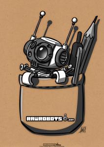 Rawrobots, robot, droid, sci-fi, sci fi, toony, cartoon, retro, funny, android, bot, hog, høg, Pocket, Robot, PocketRobot, Pocketbot, Pencil, erase, pencil, pocket, ink, little helper, helper, office, office supplies, shirt,